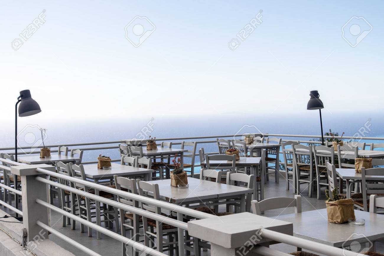 Luxury Terrace Balcony Of Exclusive Restaurant With Retro Table  # Muebles Panorama