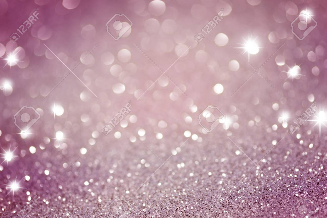 Pink Glittering Christmas Lights Blurred Abstract Background Stock Photo