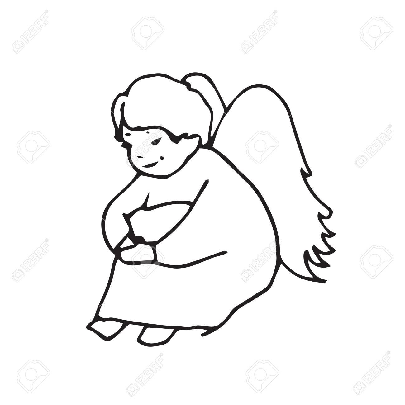 Dessin Ange Triste ange triste petit homme mignon. croquis de main-dessin graphique