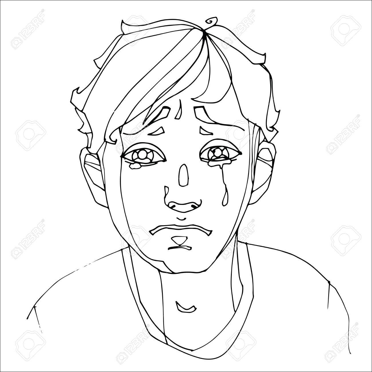 The boy crying heavily human emotions sketch hand drawing contour vector graphics