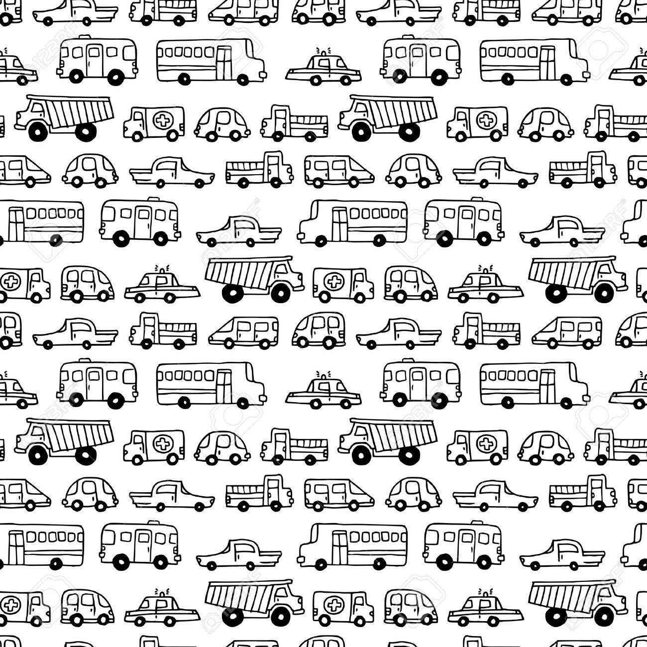 Seamless Doodles Autos Hintergrund. Vektor Schwarzen Und Weißen ...