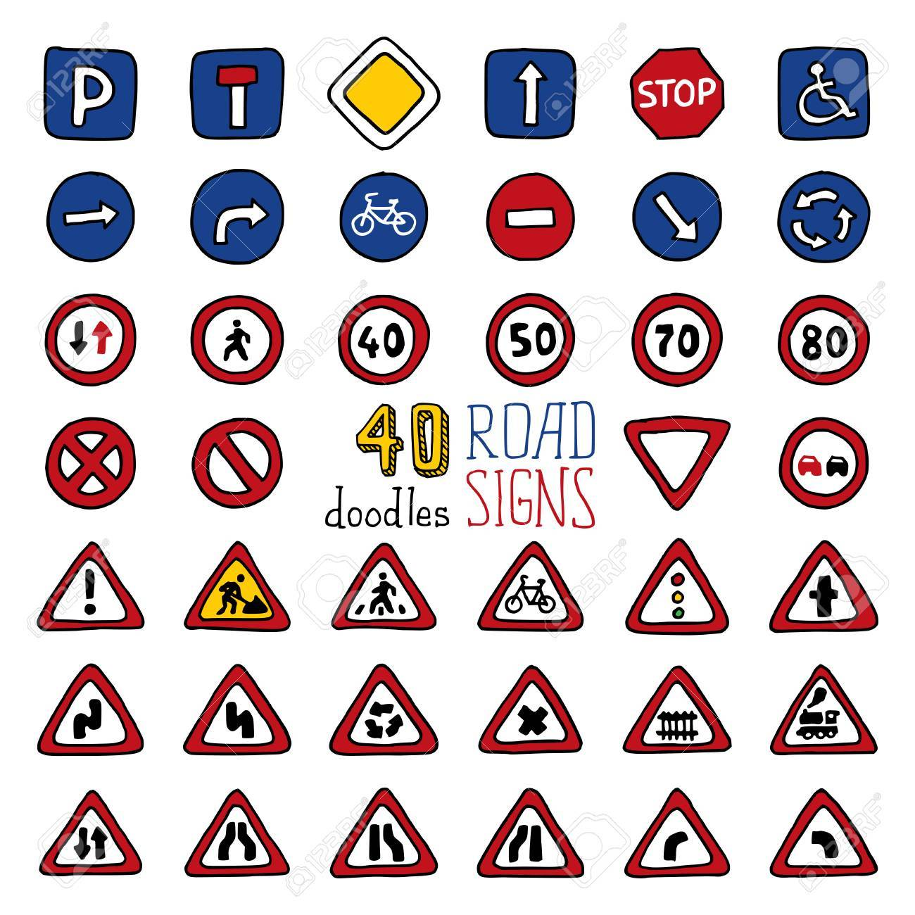 Vector set of doodles road signs. Handdrawn design elements isolated on white background. - 41668266