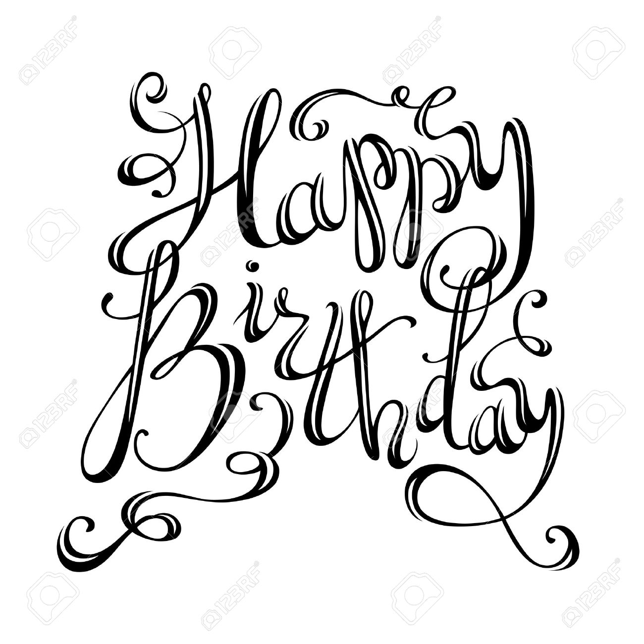 Happy Birthday Lettering Vector Hand Written Isolated Phrase For Greeting Cards And Print Invitations