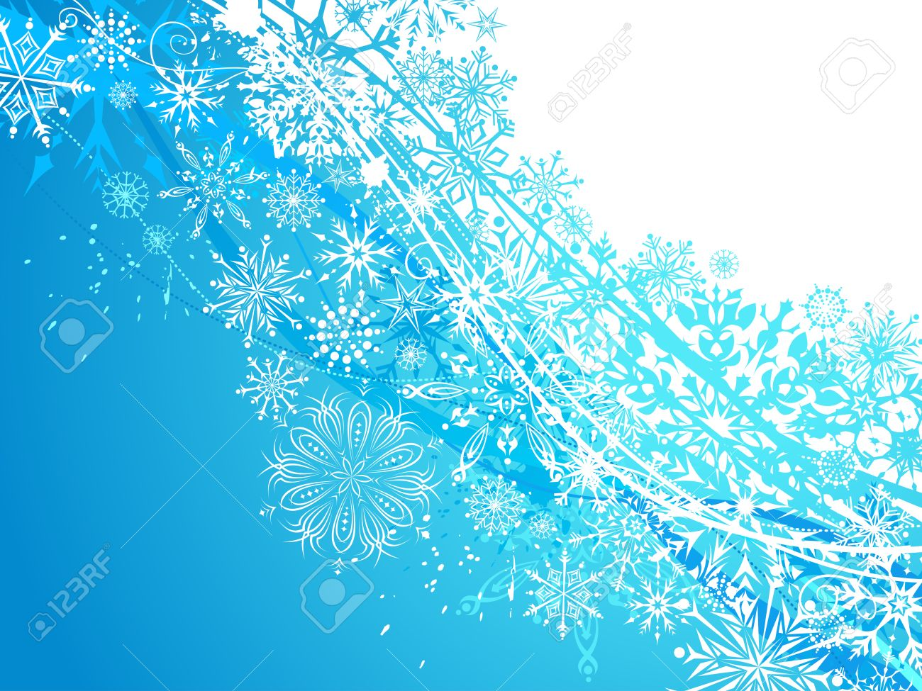 Winter Background With Snowflakes White And Blue Ornate Snowflakes