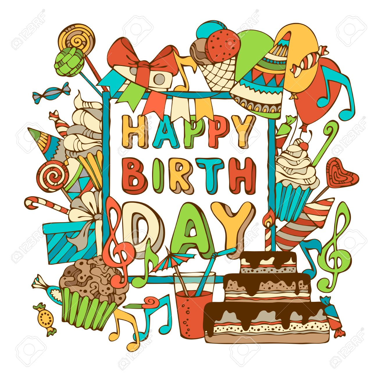 Vector De La Tarjeta Del Feliz Cumpleaños Dibujado A Mano Dulces De Cumpleaños Party Los Escapes Sombreros De Fiesta Cajas De Regalo Y Arcos