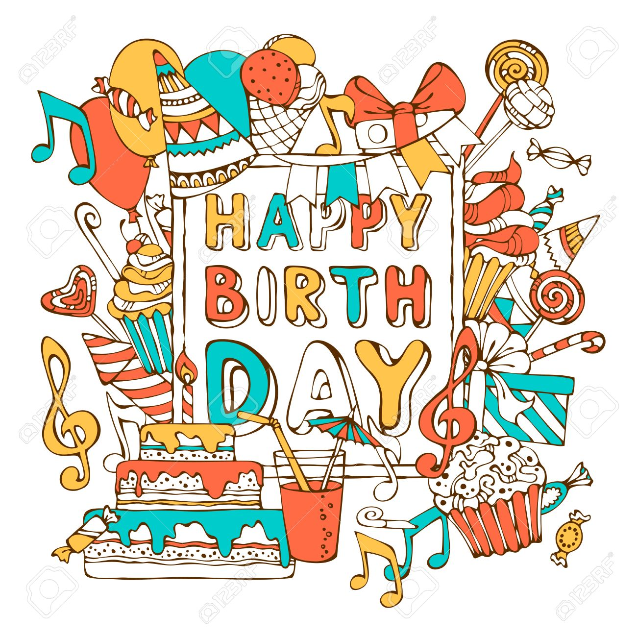 Vector Happy Birthday Card Colourful Gift Boxes Garlands And Balloons Music Notes