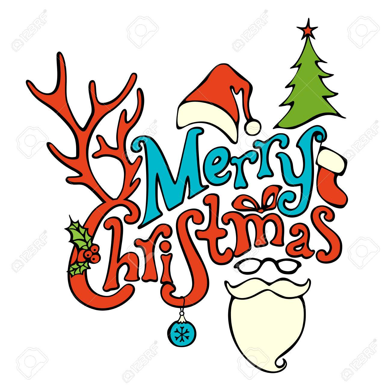 Merry Christmas Lettering.Merry Christmas Lettering Hand Written Text Holly Berry Fir