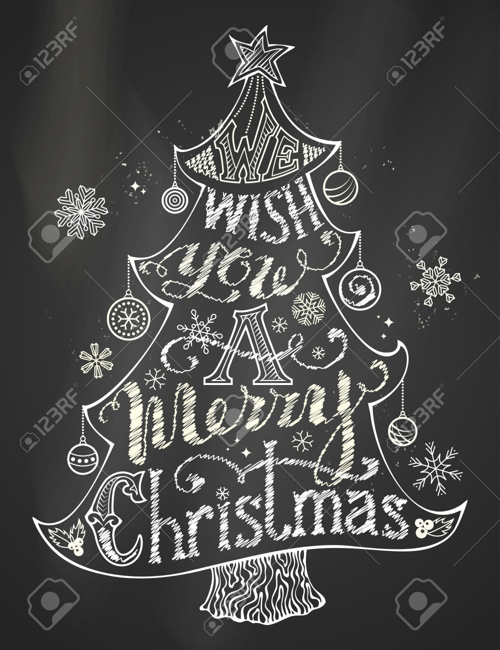 Black And White Illustration We Wish You A Merry Christmas Chalk Lettering In Tree Silhouette On