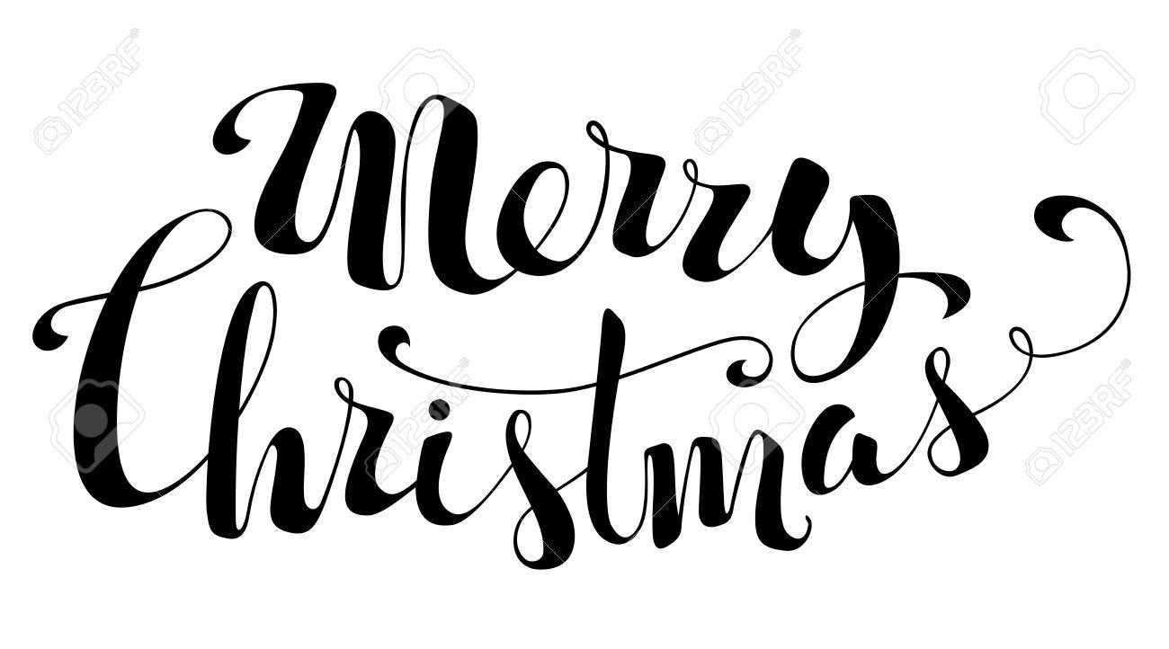 Frohe Weihnachten-Beschriftung. Handschriftlichem Text Auf Weißem ...