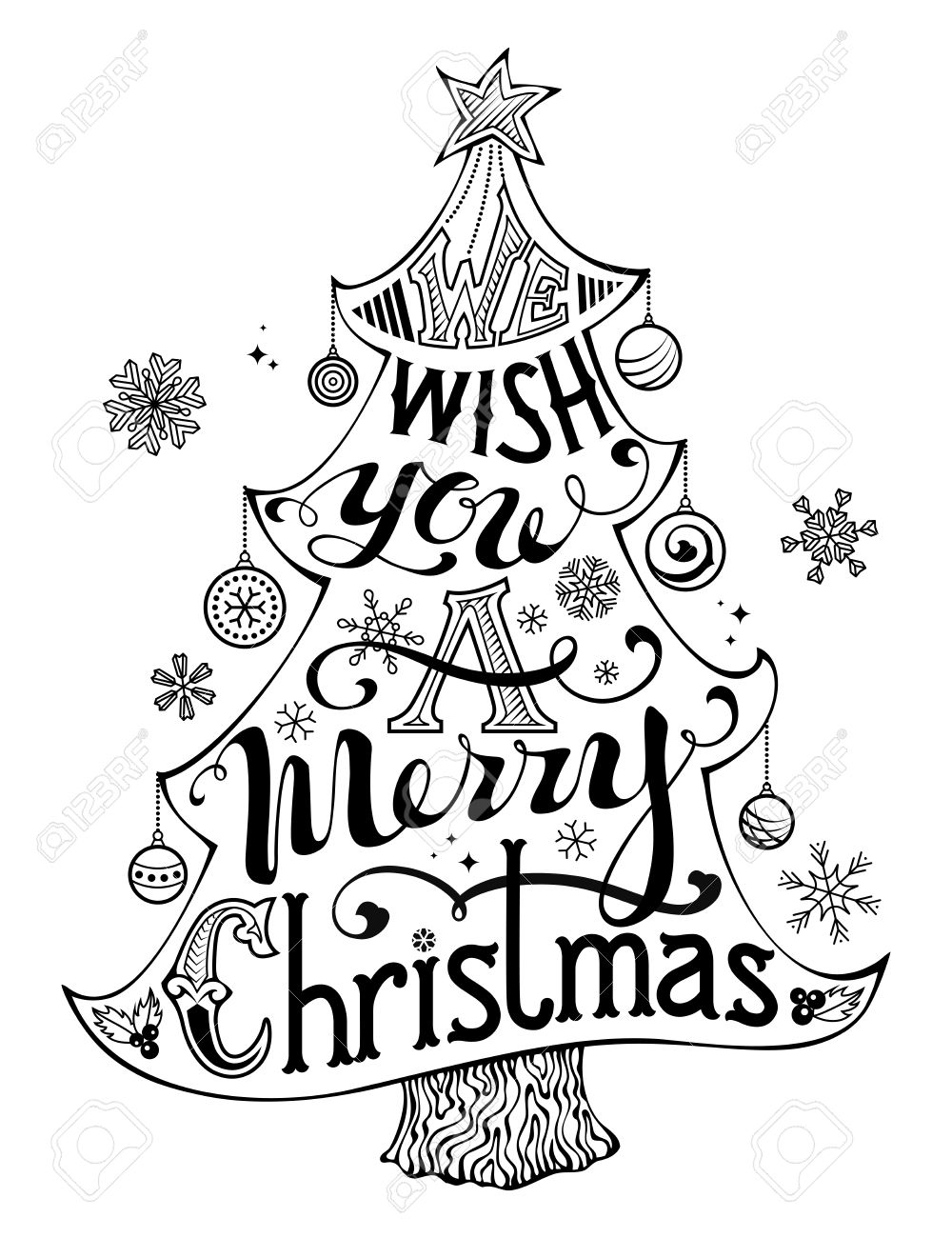 We Wish You A Merry Christmas Hand Written Text Holly Berry