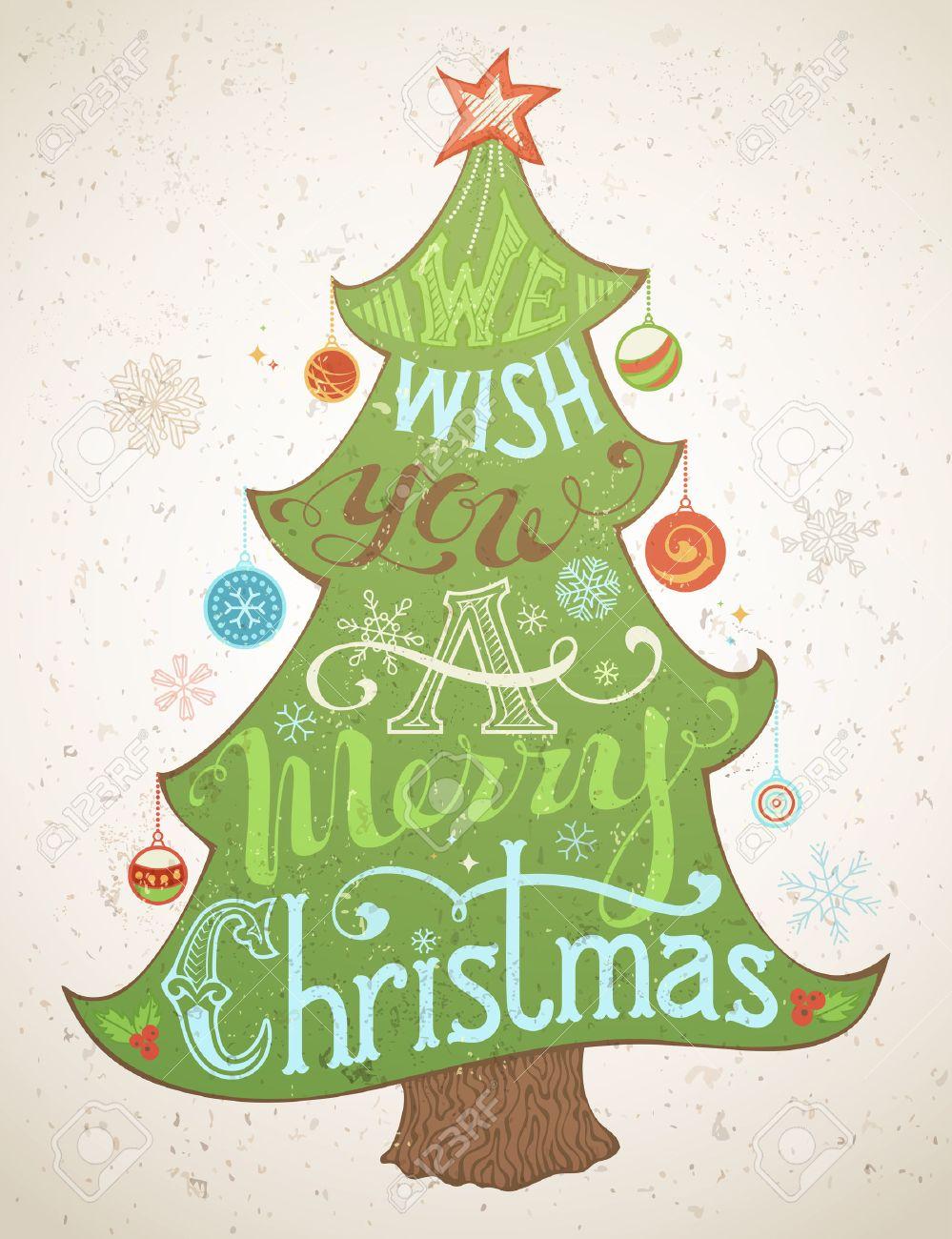 我々 はあなたにメリー クリスマスをしましたクリスマス ツリー メリー クリスマスの文字手書きテキストホリー ベリークリスマス ボール雪クリスマス ツリーの上に 4 つ星