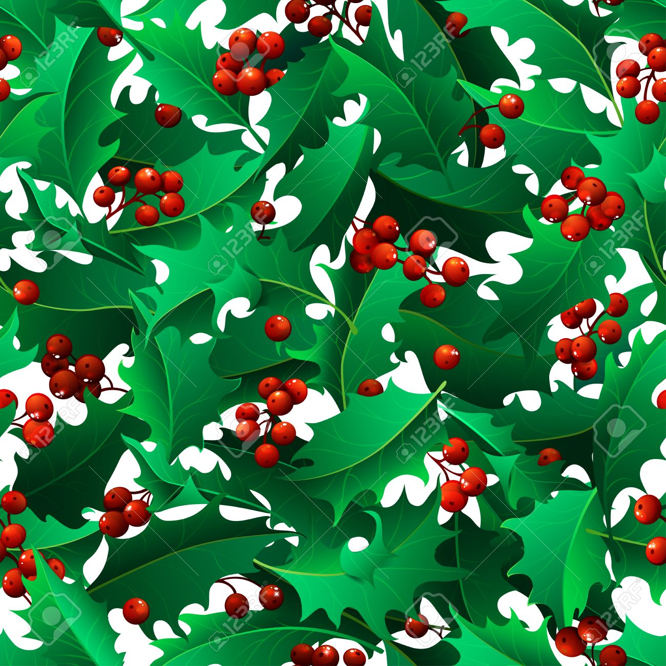 vector christmas mistletoe boundless background. holly leaves