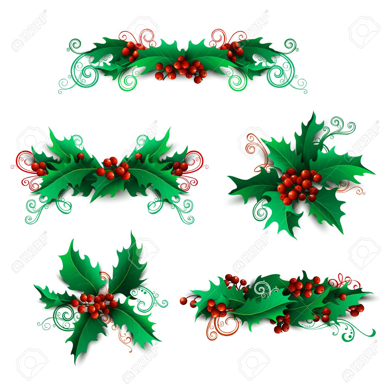 vector vector set of holly berries design elements christmas page decorations and dividers isolated on white background can be used for your christmas