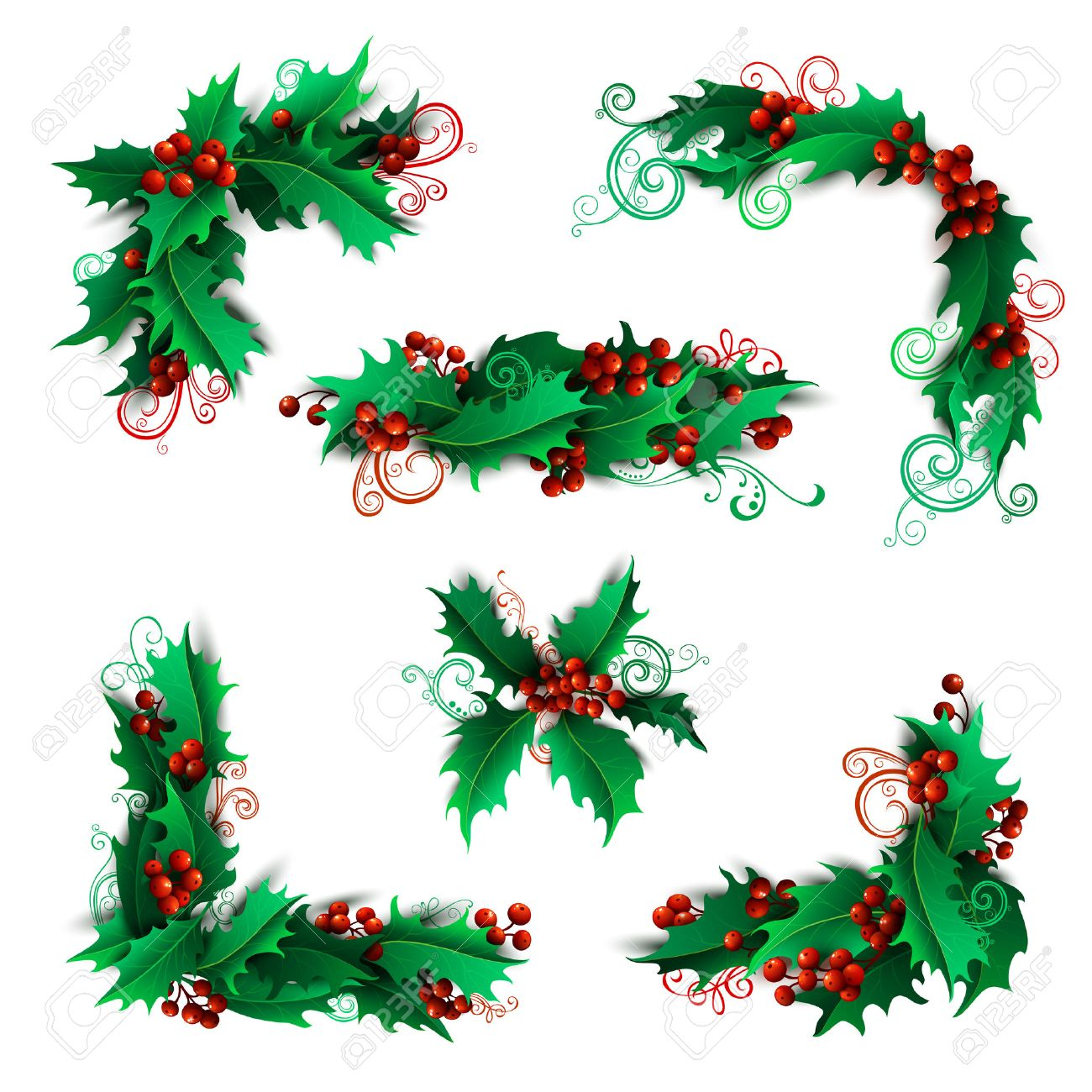 set of holly berries page decorations and dividers christmas vintage design elements isolated on white