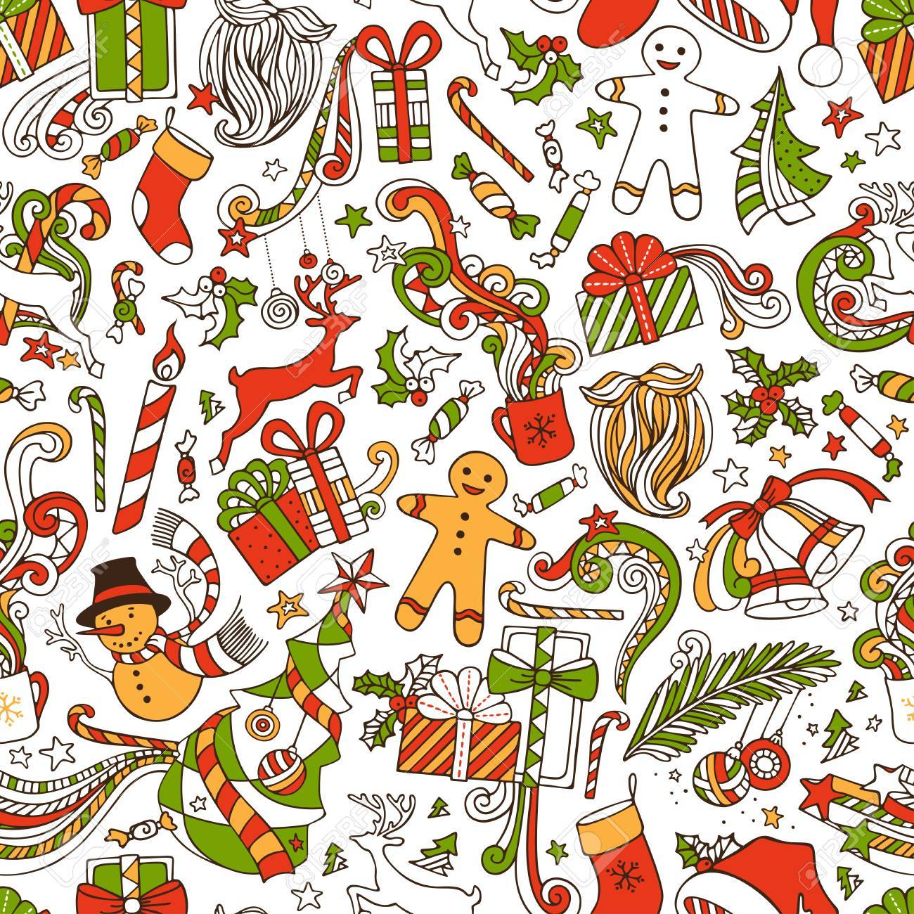 Boundless Funny Christmas Wallpaper. Seamless hand,drawn pattern