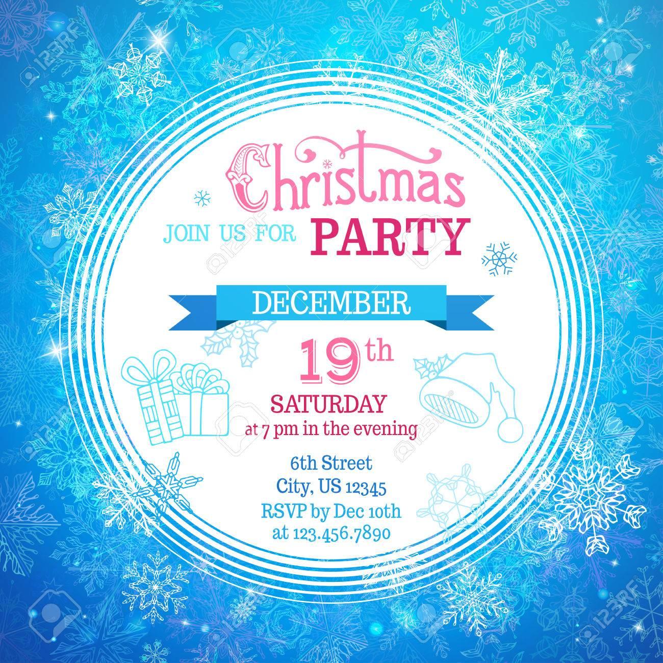Buon Natale Del C Testo.Vettoriale Modello Del Partito Di Buon Natale Sfondo Blu Inverno
