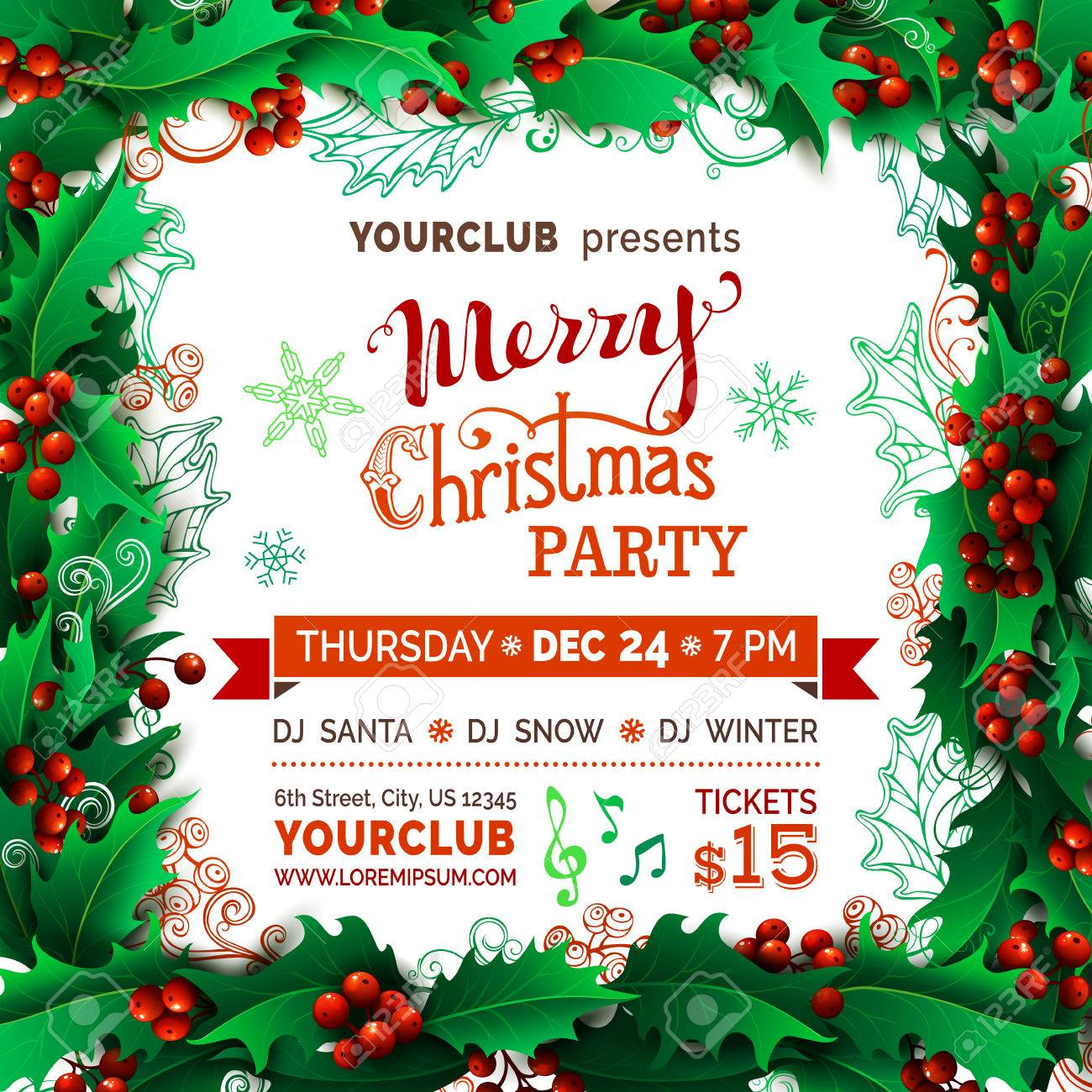 merry christmas party template vector holly berries christmas