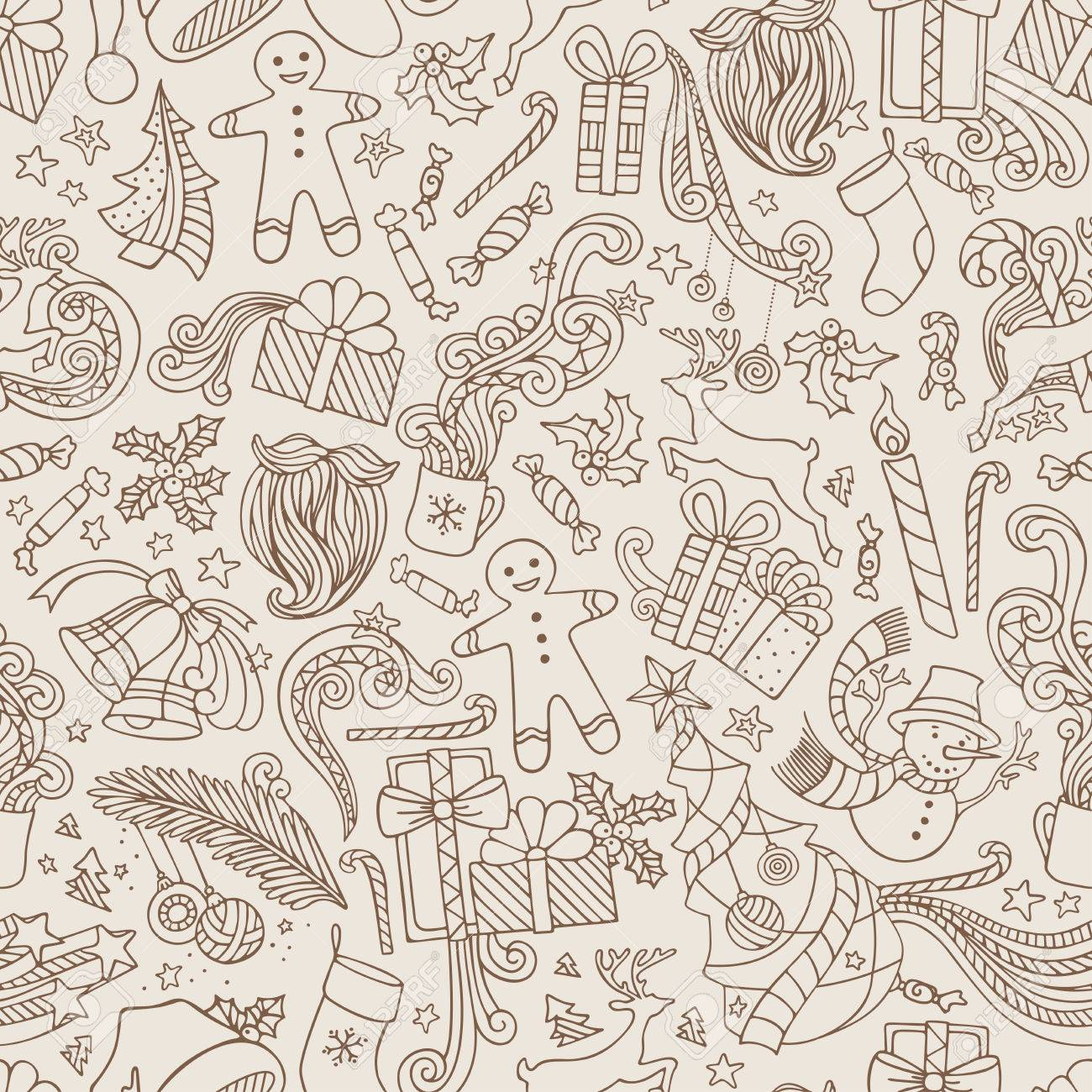 9e81d266dbbff Vintage Seamless Doodles Christmas Pattern. Sepia hand-drawn ornate  boundless wallpaper. Christmas tree and baubles