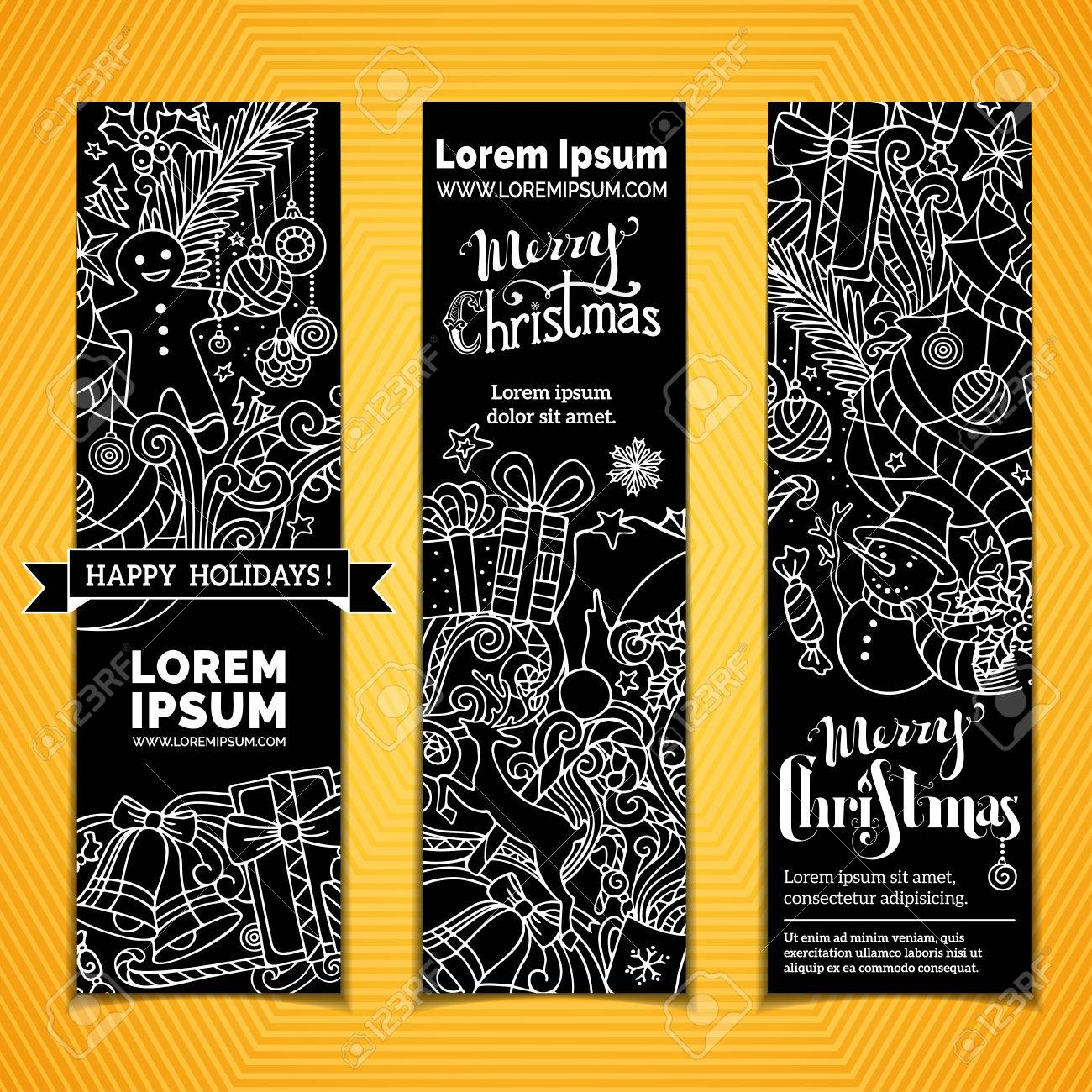 set of chalk christmas banners three vertical templates for