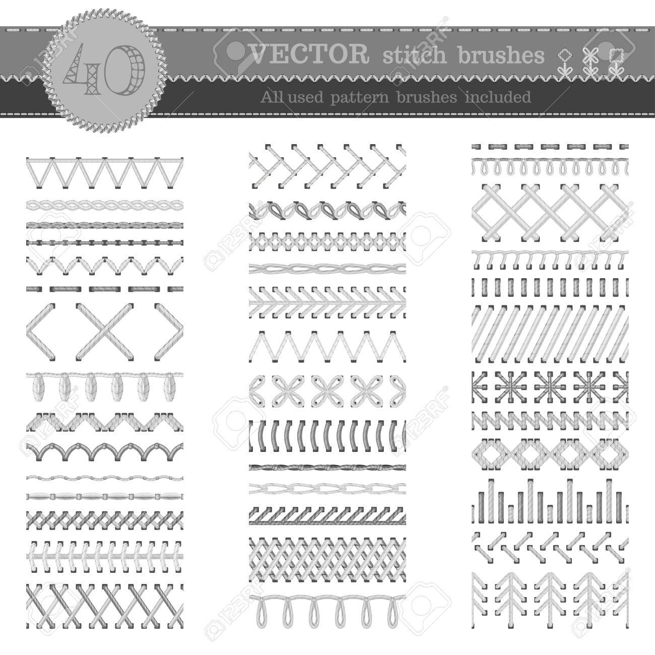 Set Of White Seamless Stitch Brushes Sewing Patterns Seams Royalty Free Cliparts Vectors And Stock Illustration Image 49639022