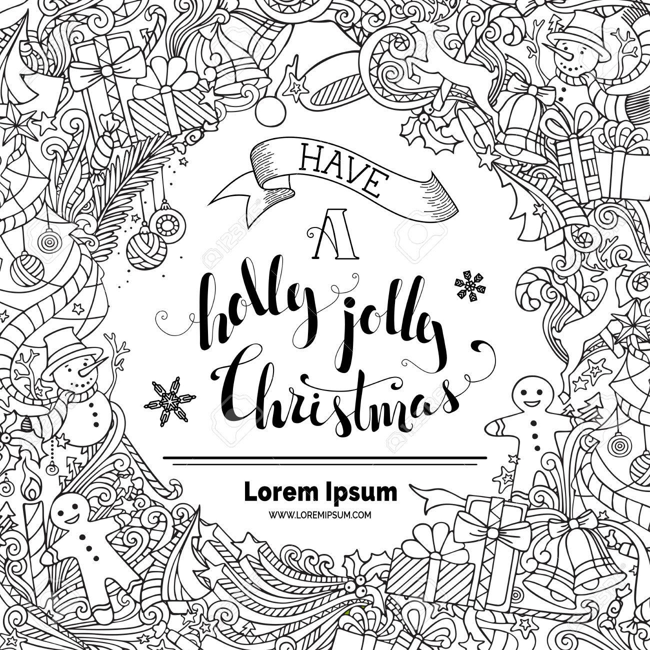 Have A Holly Jolly Christmas! Doodles Merry Christmas Background ...
