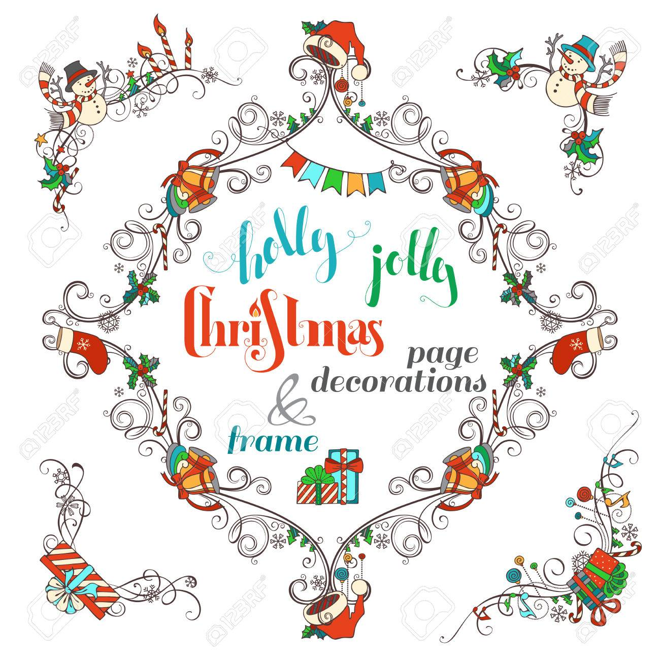 Christmas Ornate Frame And Page Corner Decorations Isolated On White Background Baubles Gifts