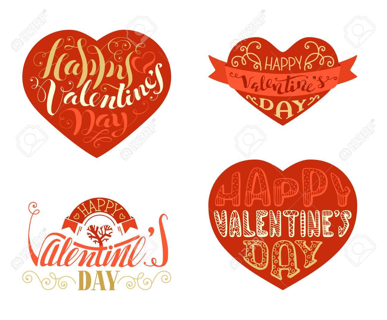 Feliz Día De San Valentín Vector Conjunto De Insignias De Oro Rojo Y Amor Escritas A Mano Frases Románticas En Forma De Corazones Cintas Y Adornos