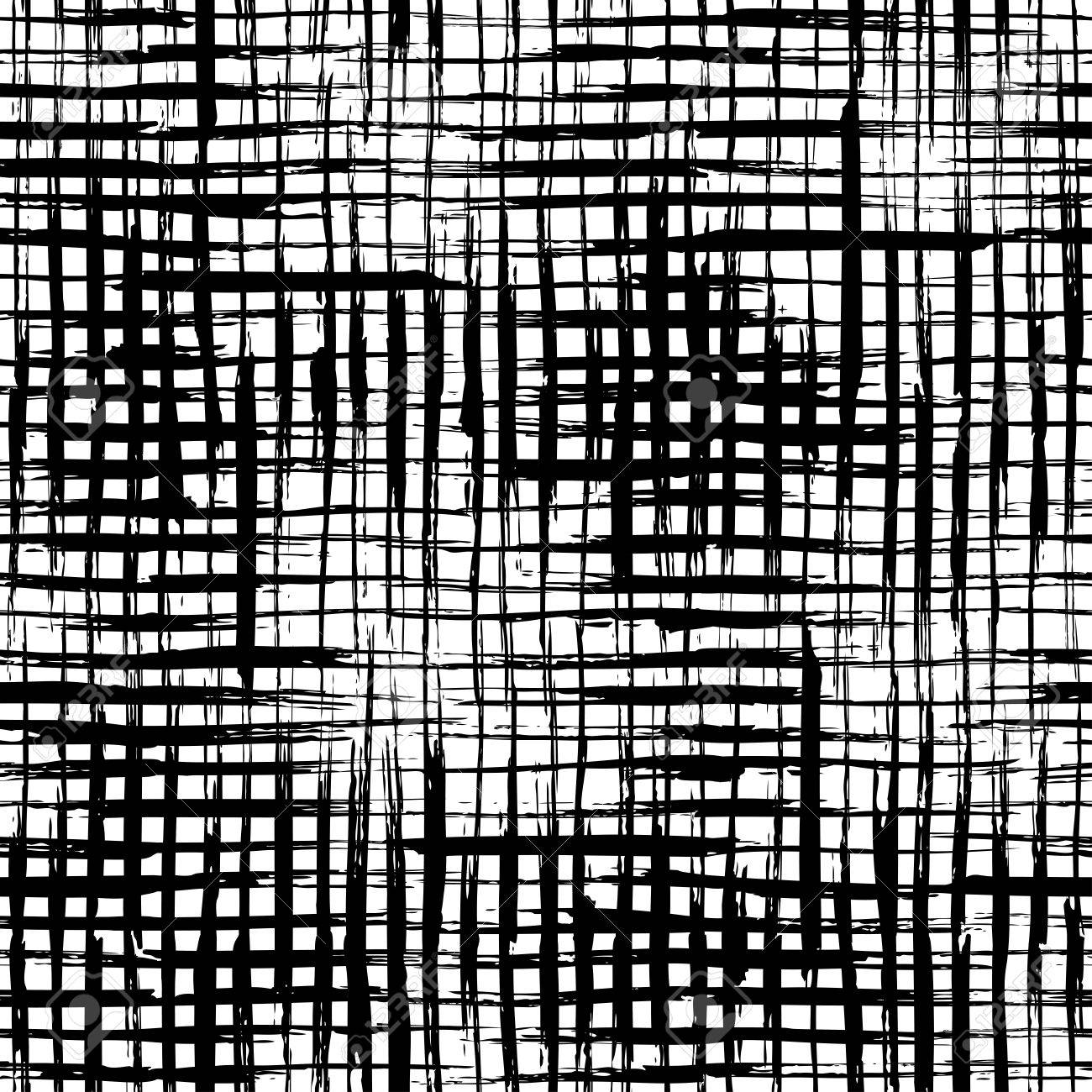 Seamless black and white checkered texture stock images image - Vector Seamless Pattern Of Checkered Brush Strokes Vector Hand Drawn Brush Flourishes On White