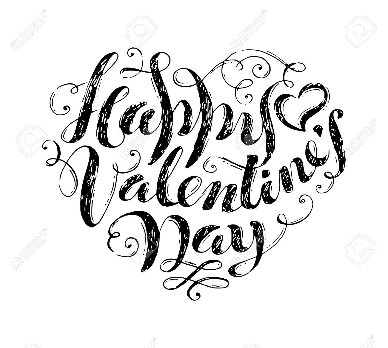 Happy Valentine S Day Hand Written Text In Shape Of Heart Sketch