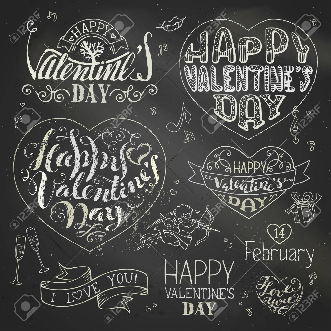 Feliz Dia De San Valentin Vector Conjunto De Frases Escritas A Mano