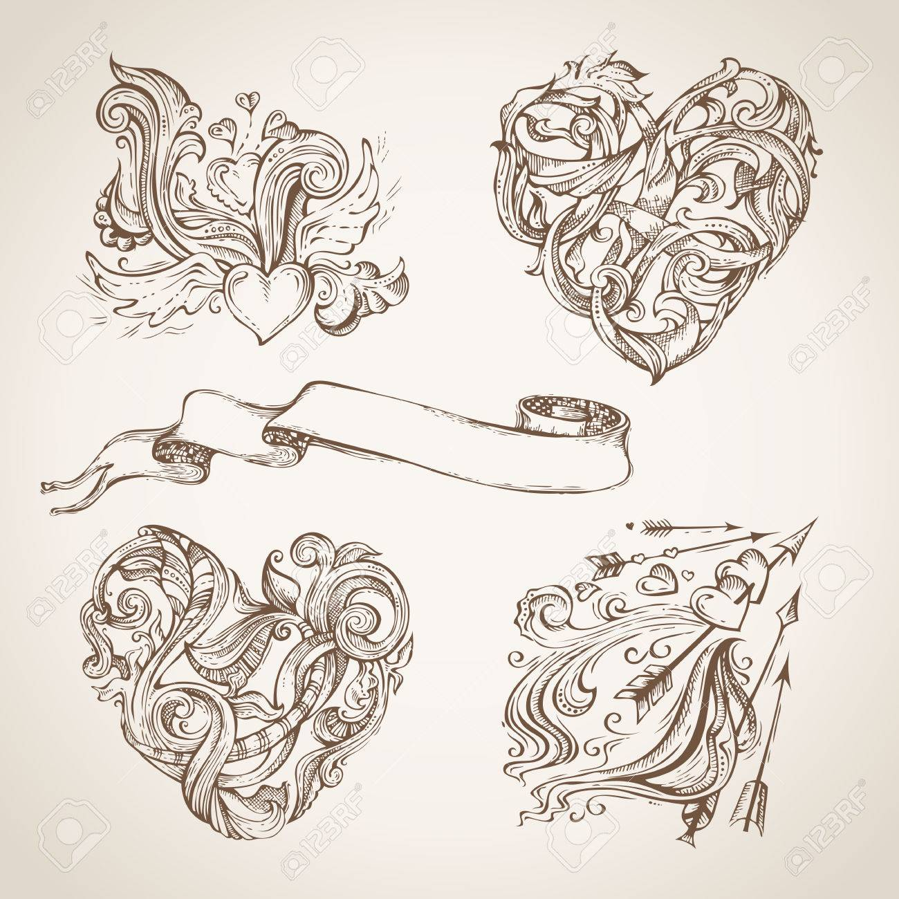 Set of romantic sketch design elements vintage hearts arrows and ribbon hand