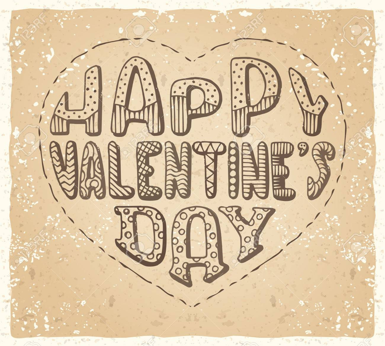 Happy Valentine S Day Hand Written Vintage Doodles Text In Shape