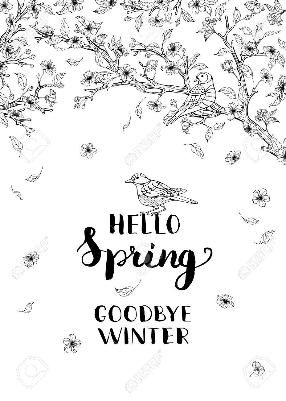 Hallo Frühling, Winter Ade! Frühlings-Blüten Und Vögel Auf Baum ...