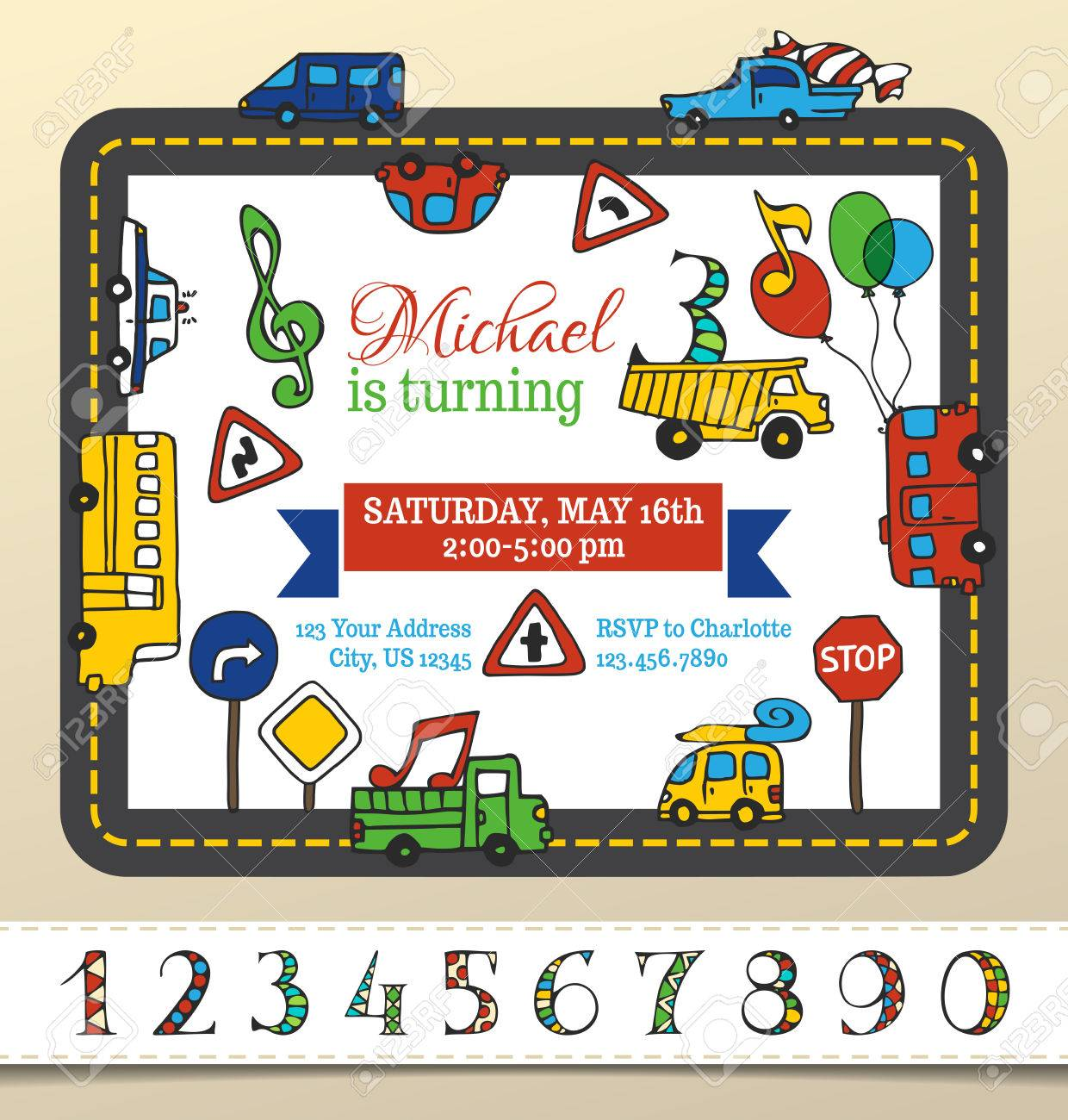 Vector Birthday Invitation Template For Boy