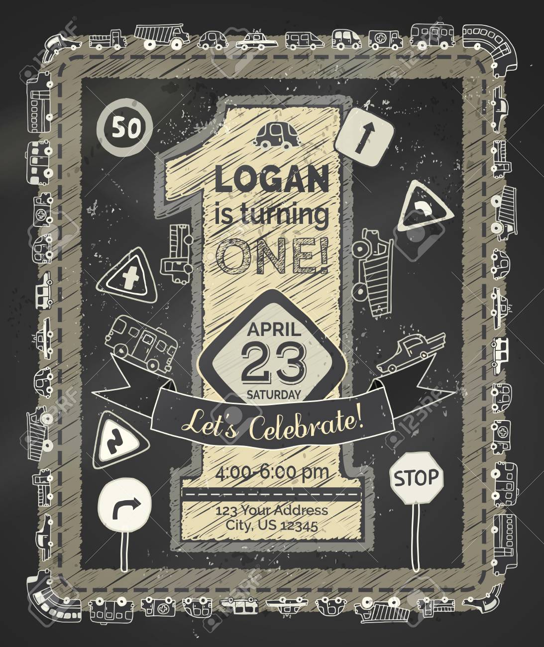 Hand Drawn Chalk One Year Birthday Invitation For Boy Doodles