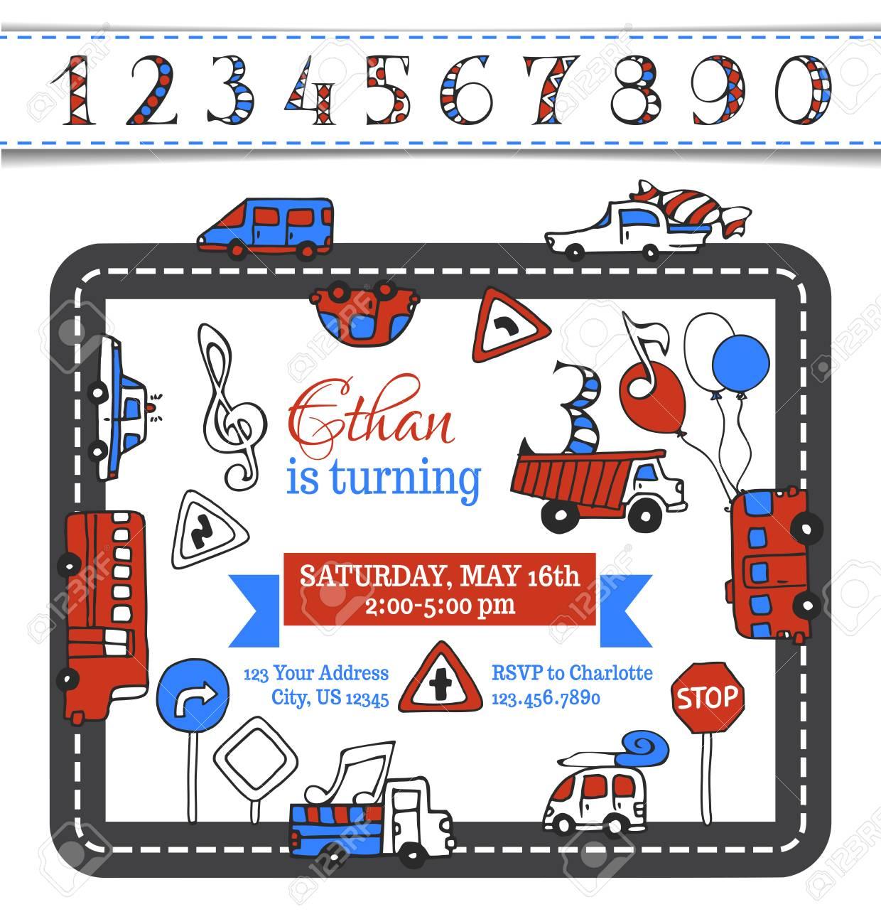 Vector Birthday Invitation Template. Hand-drawn Doodles Cars ...