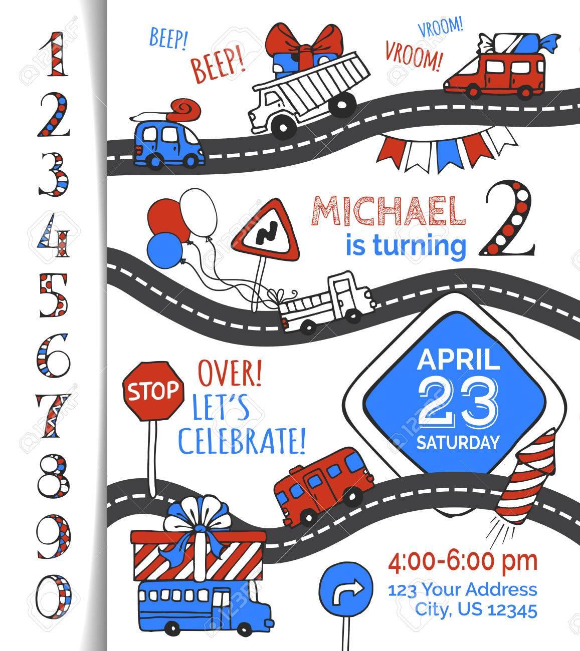 One Year Birthday Invitation For Boy. Hand-drawn Doodles Cars ...