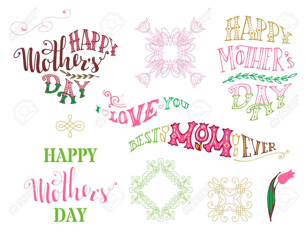 Shirt design elements - Happy Mother S Day Best Mom Ever I Love You Vector Typographical Design Elements