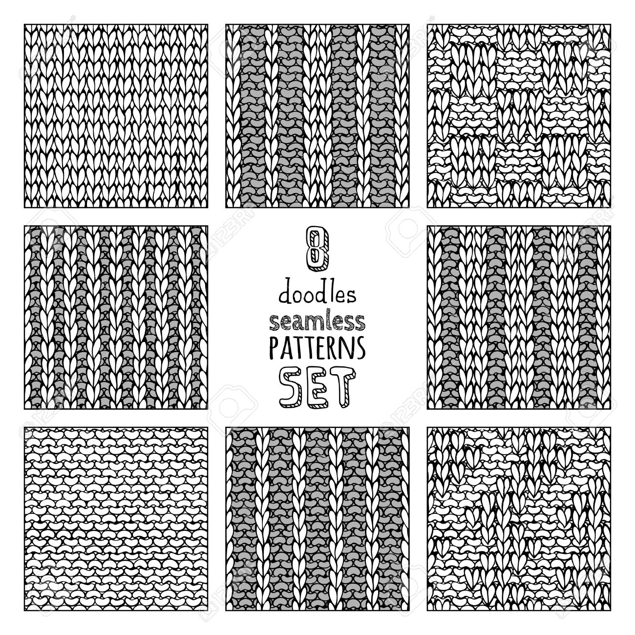 Vector Set Of Seamless Doodles Knitting Patterns. Stockinette ...