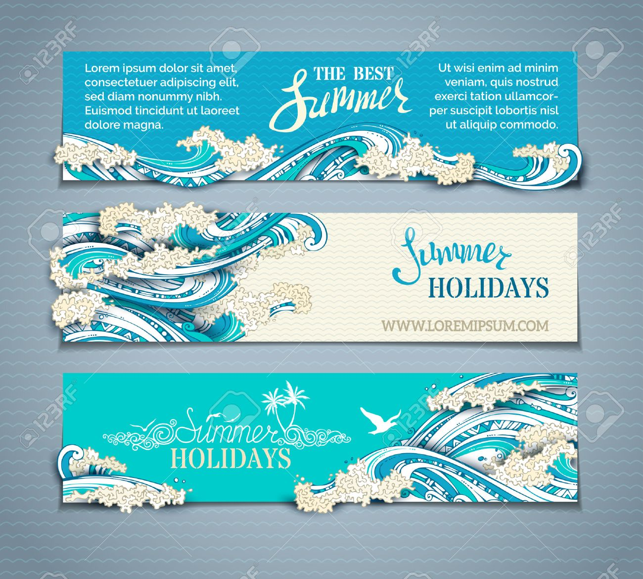 Vector set of sea/ocean horizontal banners. Paper ship, starfish, seagulls and waves. Summer holidays. The best summer. Hand-drawn illustration. There is place for your text on coloured background. - 55632100