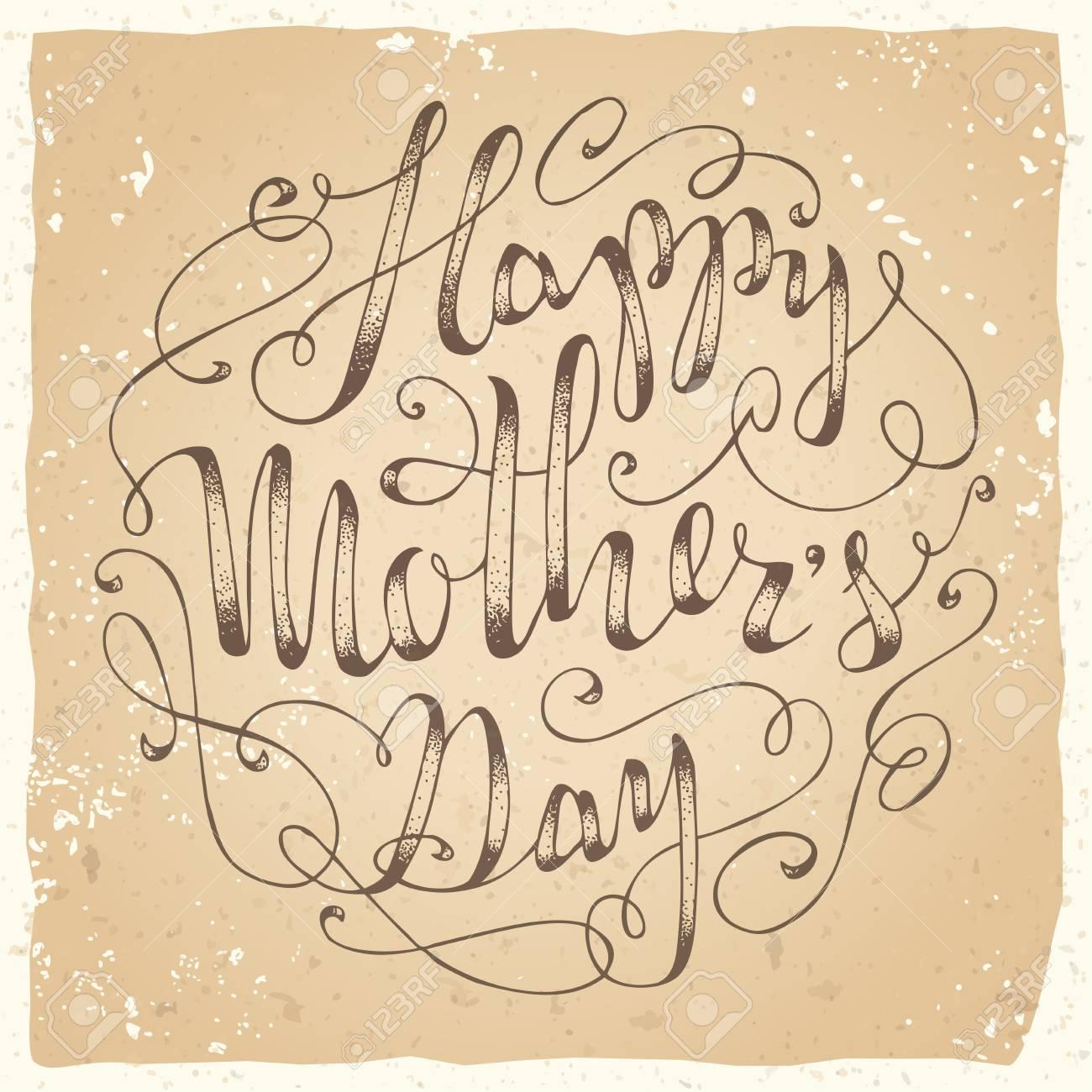 Feliz Día De La Madre! Vector Letras De La Mano-escrito. Plantilla ...