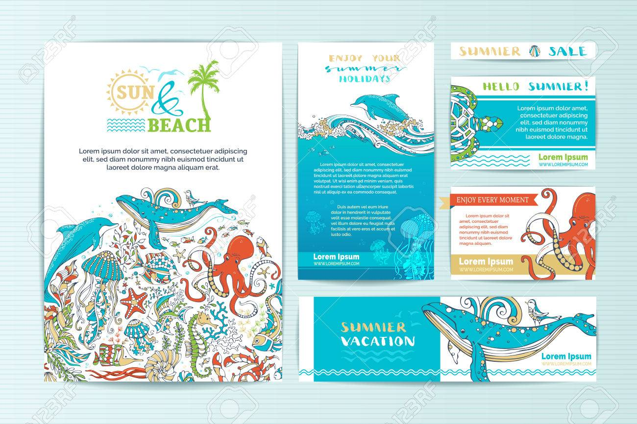 Set of corporate wild sealife templates vector cartoon elements set of corporate wild sealife templates vector cartoon elements a4 paper business cards colourmoves