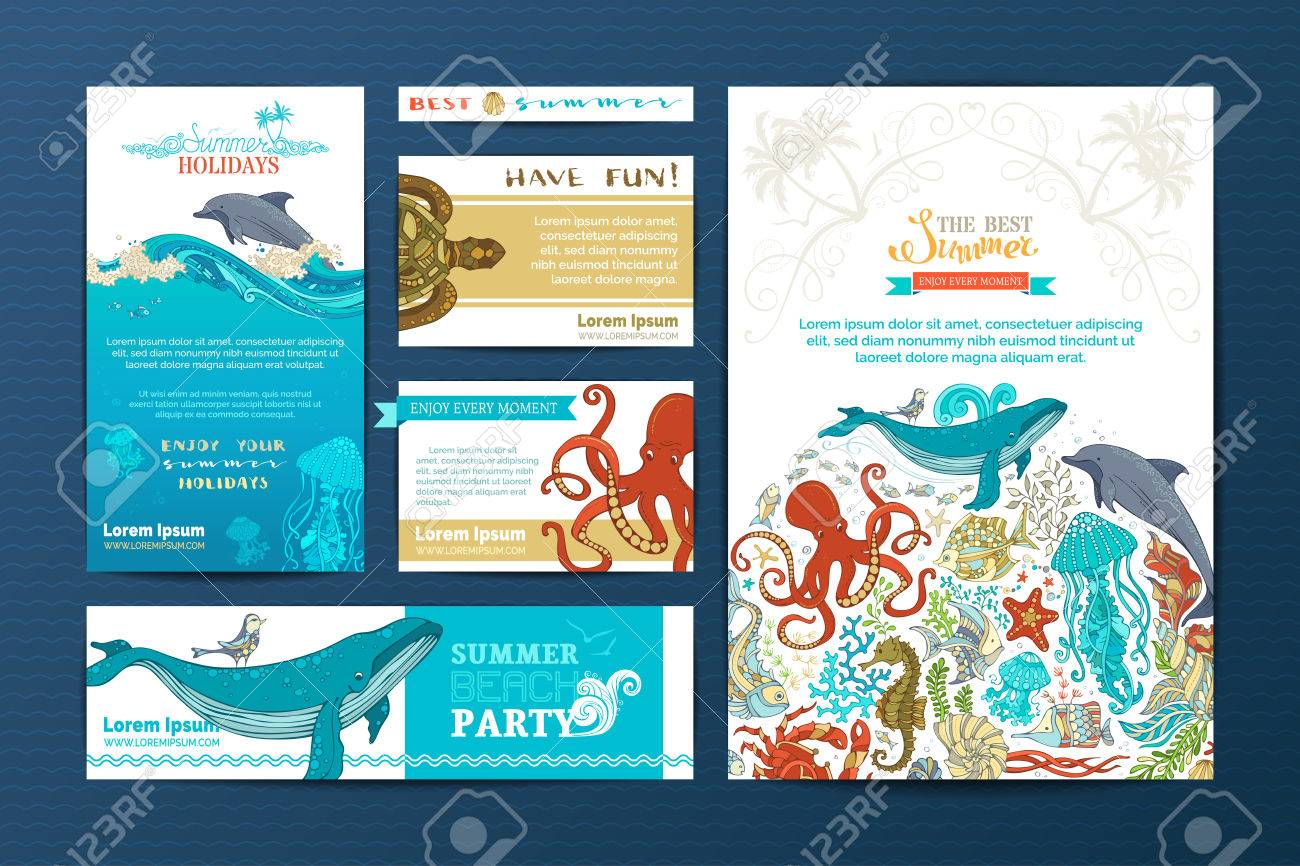 Corporate underwater wild life templates vector doodles design corporate underwater wild life templates vector doodles design elements a4 paper business cards colourmoves