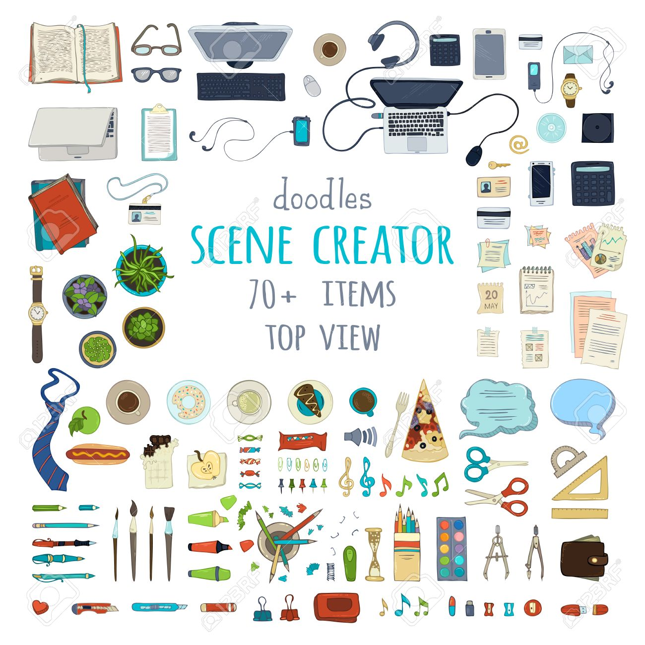scene creator hand drawn gadgets and office supplies isolated