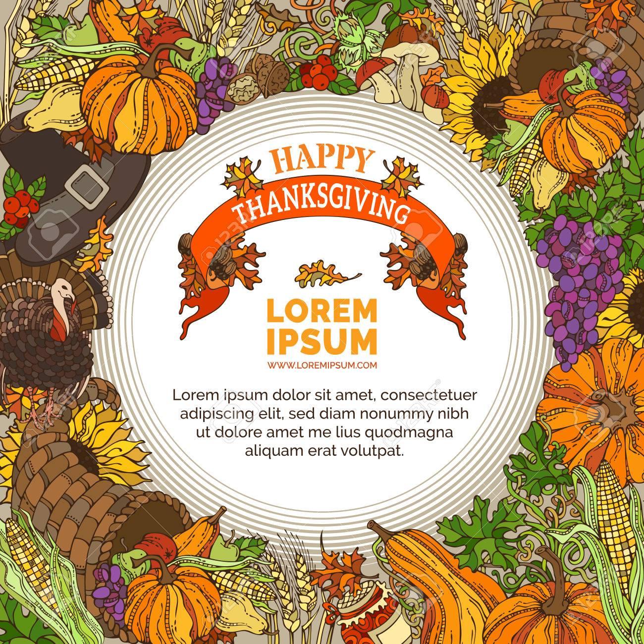 Vector Hell Thanksgiving Hintergrund. Traditionelle Ernte Symbole ...