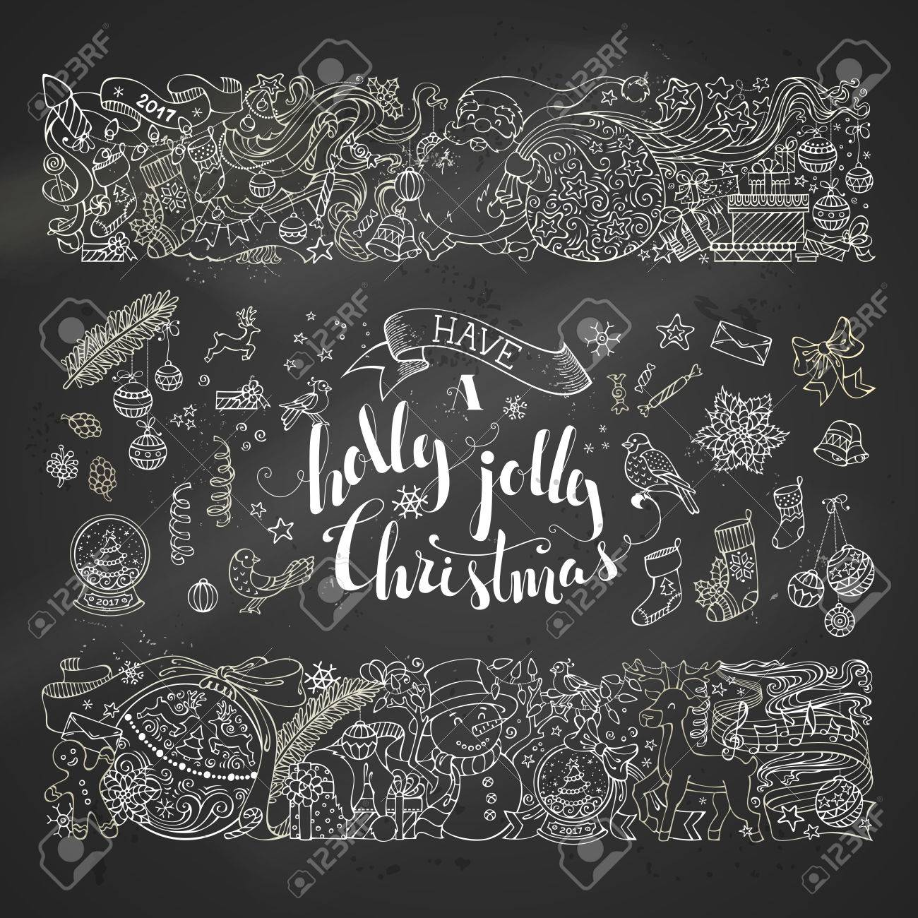 Chalk Merry Christmas Decorations And Design Elements On Blackboard