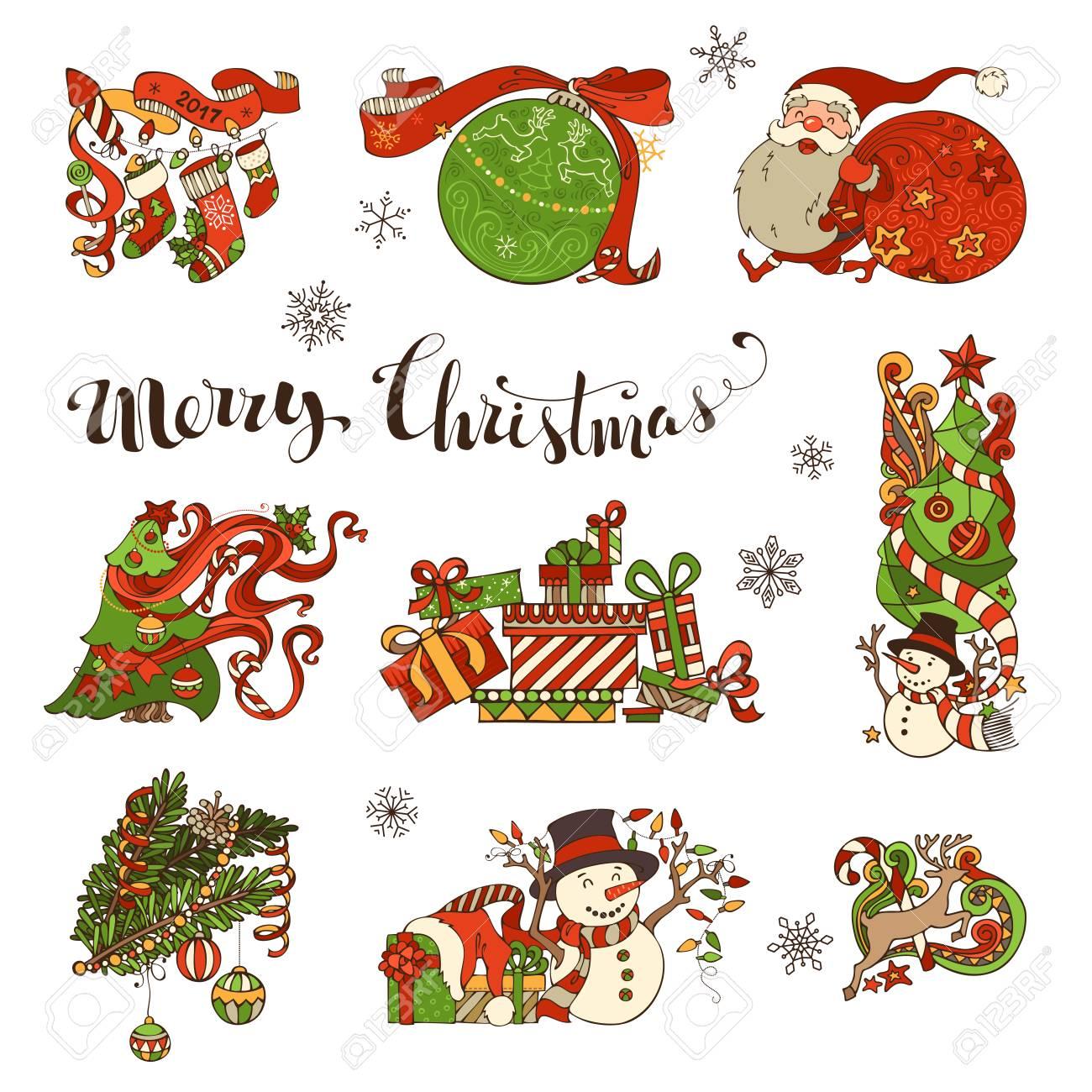 Vector Set Of Merry Christmas Symbols, Decorations, Design Elements ...