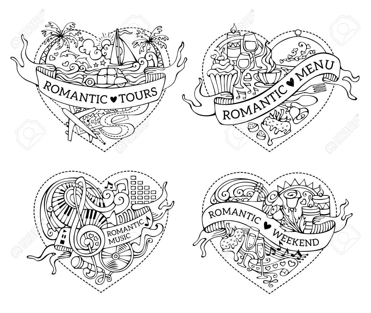 Léments De Design Noir Et Blanc De Dessin Animé Romantique Les Symboles De La Saint Valentin Les Icônes De Lamour Et Les Signes Livre De Coloriage