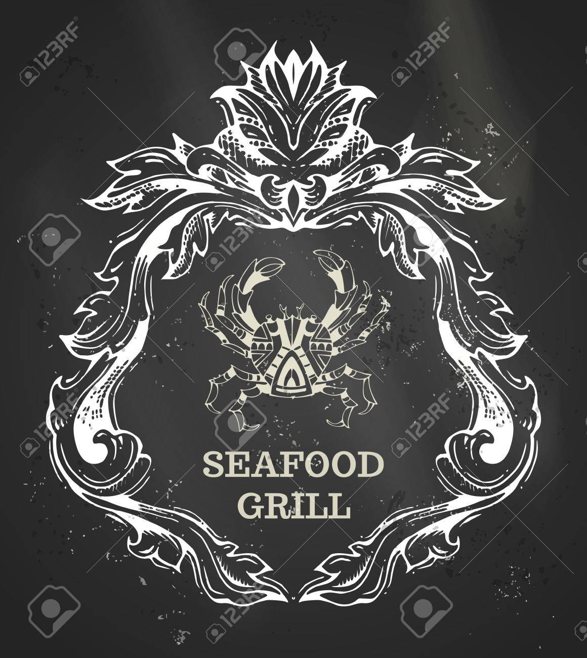 vector chalk seafood and grill menu template ornate doodles