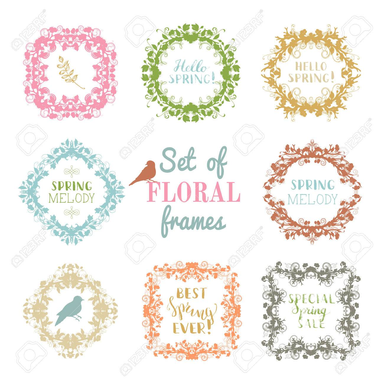 Siluetas De Primavera De Flores, Hojas, Ramas, Pájaros Y Florece ...